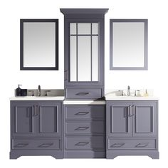 ARIEL Stafford Grey Double Sink Bathroom Vanity with White Quartz Top (Mirror Included) at Lowe's. Make bathroom storage look glamorous with the Stafford vanity set series from ARIEL. The Stafford series includes White Quartz countertops mounted above Double Sink Bathroom, Double Sink Vanity, Bathroom Vanity Tops, Bath Vanities, Bathroom Storage, Bathroom Ideas, Bath Ideas, Bathroom Remodeling, Bathroom Inspiration