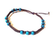 Macrame brown anklet with wooden beads by CaiMonkeyCrafts on Etsy