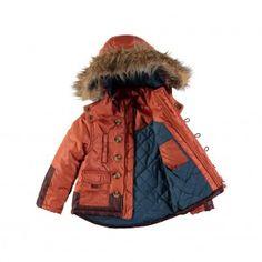 Rockin' Baby Boys Rust Rust Fur Collared Coat 18-24 Months