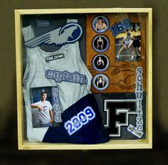 Shadow box is a box where you keep many memories there. To decorate it we have many variant shadow box ideas that could make it more interesting. Shadow Box Picture Frames, Wood Shadow Box, Kids Room Shelves, Framed Jersey, Varsity Letter, Sports Pictures, Senior Pictures, Crafty, Lettering