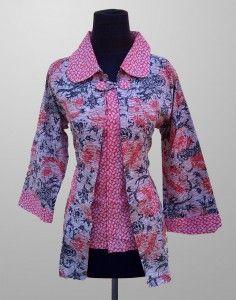 Baju Batik Wanita Cantik Modern Motif Kembang Kode KM 161 SMS ke 082134923704