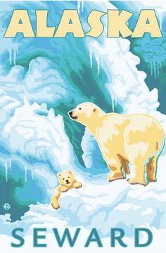 Polar Bears & Cub, Seward, Alaska