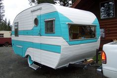jumping in your truck and going for a trip in your awesome turquise trailer! #retro #trailer
