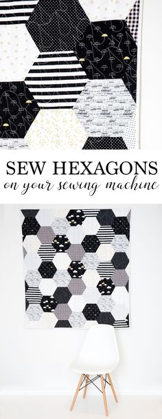 "Sewing Quilts How to Sew Hexagons With a Sewing Machine - Simple Simon and Company - Maybe the title of today's post should be ""don't fear the hexagons in quilting!"" Learn how to sew hexagons with a sewing machine. Sewing Projects For Beginners, Sewing Tutorials, Sewing Hacks, Sewing Tips, Sewing Crafts, Sewing Ideas, Art Tutorials, Simple Sewing Projects, Sewing Basics"