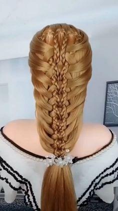 Hairdo For Long Hair, Easy Hairstyles For Long Hair, Braided Hairstyles, Beautiful Hairstyles, Front Hair Styles, Medium Hair Styles, Hair Style Vedio, Hair Videos, Hair Designs