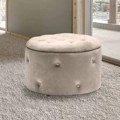 Round Storage Pouffe in Beige - Cleo Range Storage Stool, Ottoman Storage, Bedroom Ottoman, Ottoman Stool, Foot Rest, Bar Stools, Beige, Contemporary, Interior