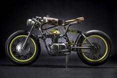 dubbed the one, austria's titan motorcycles customizes a honda into a crazy racer. Honda Cb, Honda Bikes, Honda Motorcycles, Vintage Motorcycles, Custom Motorcycles, Custom Bikes, Cafe Racer Parts, Cafe Racer Build, Cafe Racer Bikes