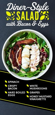 Diner-Style Salad with Bacon and Eggs | 12 Easy Salads You Can Pack For Lunch Again And Again