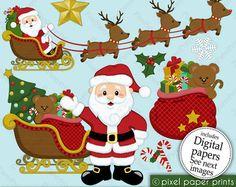 Christmas clipart - Santa Claus - Clip art and Digital paper set pixelpaperprints USD Illustration Noel, Illustrations, Clip Art, Pixel Print, Christmas Clipart, Christmas Graphics, Project Yourself, Print And Cut, Art Images