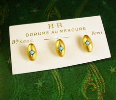French Antique Turquoise Rose Gold Studs by NeatstuffAntiques