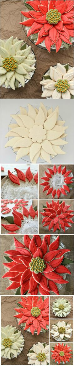 Christmas ● Tutorial ● Easy Poinsettia Cookie Platter.