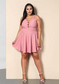 Plus Size Clothing | Plus Size Caged Flared Plunge Dress | Debshops