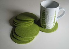 Eight Green Felt Drink Coasters, Sprout Felt Drink Coasters. $32.00, via Etsy.