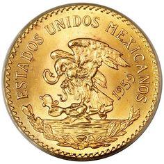 Mexican 20 Peso, .4823 Ounces Gold Content Bullion Coins, Gold Bullion, Mexican Peso, Valuable Coins, Foreign Coins, Coin Design, Legal Tender, Coin Art, Coin Shop