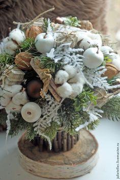 Купить Зимний букет с хлопком - бежевый, зимний букет, Новый Год, рождество, украшение стола