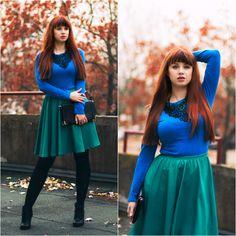 autumn green skirt blue top long hair bangs