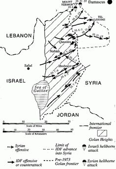 Map of The Syrian Front (October 1973) | Jewish Virtual Library