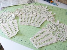 Vintage Handmade Crochet Flower Basket Doilies by ItemsEclectic, $30.00