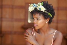 Natural Hair Bridal Styles - twa with floral accessories