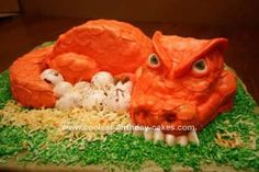 Homemade Dragon Birthday Cake Design: This Homemade Dragon Birthday Cake Design was a cake I made for a little girl's 3rd birthday. No pink dinos for this kid! She specifically requested lots