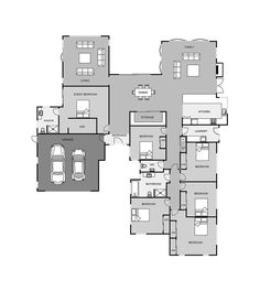 Five bedrooms bathrooms - including ensuite in master bedroom WIR in master bedroom Separate WC for guests Separate laundry Open plan kitchen, family/dining area Two living areas Separate shower and bath in the bathroom Double garage with internal access 6 Bedroom House Plans, House Floor Plans, Guest Bedrooms, Master Bedroom, Double Garage, House Layouts, Open Plan Kitchen, My Dream Home, Future House