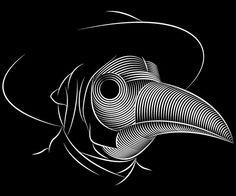 The Plague Doctor by Patrick Seymour, via Behance Plague Mask, Plague Doctor Mask, Op Art, Patrick Seymour, Mask Drawing, Glass Engraving, Scratch Art, Stencil Art, Line Art