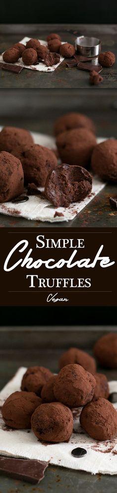 Simple Vegan Chocolate Truffles made with Dark Chocolate, Coconut Cream, Maple Syrup Sea Salt, Espresso and Vanilla Bean. Easy to make, decadent, yum. #vegan #chocolate #simple #recipes #vegandesserts #chocolatetruffles