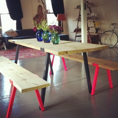 simple table/benches and neon legs at Nice Work.