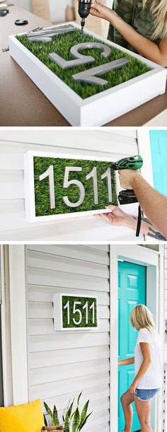 DIY modern house number, turquoise front door