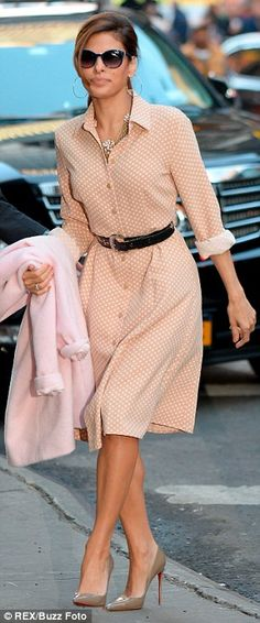 Vintage vixen: Eva Mendes wore not one, but two stylish ensembles as she promoted her new fashion line in New York City on Thursday