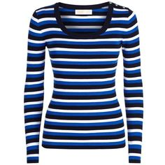 MICHAEL Michael Kors Stripe Ribbed Sweater ($130) ❤ liked on Polyvore featuring tops, sweaters, jersey sweater, striped jersey, ribbed sweater, lightweight sweaters and blue top