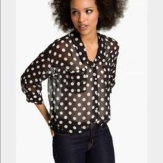 Free People Sheer Polka Dot Pocket Button Down Sheer and fun button up blouse has two pockets and sleeves that you can fold down or up. Loose fit. Collars. Size Small but is quite large. Quirky and cute. Great condition! Free People Tops Button Down Shirts