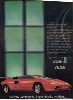 1982 Alpine cassette stereo featuring a Countach Lamborghini in the advertisement.