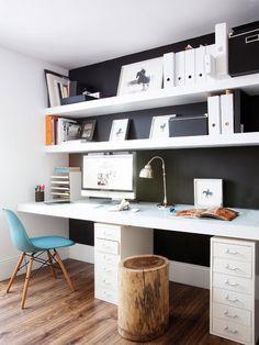 white shelving + stump stool