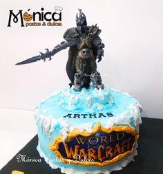 TORTA WORLD OF WARCARFT , ARTHAS. Con detalles únicos en ella, elaborado en MONICA PASTAS Y DULCES.