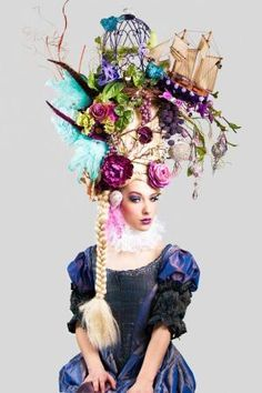 Marie Antoinette butterfly bird cage sail boat headdress headpiece wig fantasy burlesque french baroque roccoco., via Etsy. by phyllisgabby