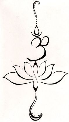 "A lotus to represent a new beginning, or a hard time in life that has been overcome and the symbol ""Hum"" from the Buddhist mantra to stand for"