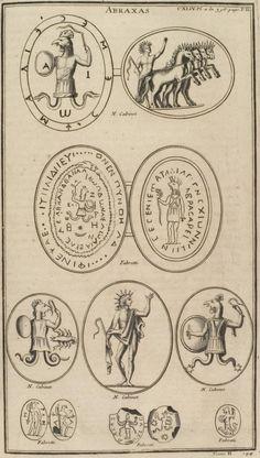 A print from Bernard de Montfaucon's L'antiquité expliquée et représentée en figures (Band 2,2 page 358 ff plaque 144) with different images of Abraxas.