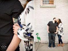 This mustached flamingo found his way into these engagement photos! #Memphis #wedding #photographer