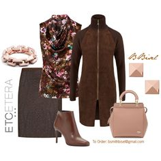 STROLL goat suede and knit jacket; with ARTISANAL quilted skirt and ARTISAN floral blouse; Etcetera Fall Collection by biseletcetera on Polyvore