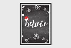 Christmas Home Decor Believe Chalkboard Sign Believe Printable Sign Santa Print Christmas print poster Xmas Belive Winter decor art print