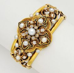 Antique Pearl, Enamel, Diamond and 18K Gold Bracelet .  Set with old mine-cut diamonds and pearls (not tested for natural), inner circumference 6 1/2 ins, mid 19th century, French import mark
