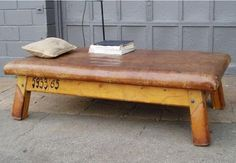 A vintage leather bench, spotted on Reference Library.