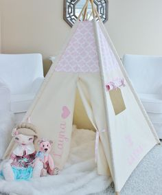 Play tent teepee with customized pink fabric and personalization - name and heart