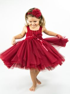 Christmas Red Tulle Dress with Empire Waist and by AylinkaShop
