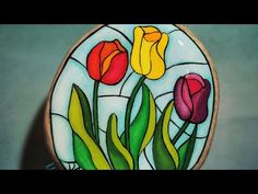 Stained Glass Tulips - YouTube Painted Rocks, Hand Painted, Rock Flowers, Stone Painting, Rock Painting, Trees To Plant, Art Tutorials, Tulips, Stained Glass