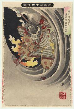 Yoshitoshi (1839 - 1892)  The Ghost of Wicked Genta Yoshihira Attacking Namba Jiro at Nunobiki Waterfall, No. 19   Series; New Forms of Thirty-six Ghosts