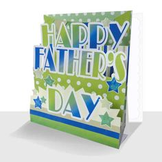 A fun Father's Day Card in greens and blues with a spot and stripe design with a touch of sparkle Polka Dot Background, Step Cards, Happy Words, Unique Cards, Happy Fathers Day, Stripes Design, Blues, Greeting Cards, Sparkle