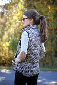 So cute! Love the herringbone quilted vest from J.Crew. And, I adore elbow patches!!!!