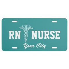 RN Nurse license plate with caduceus | Personalize License Plate